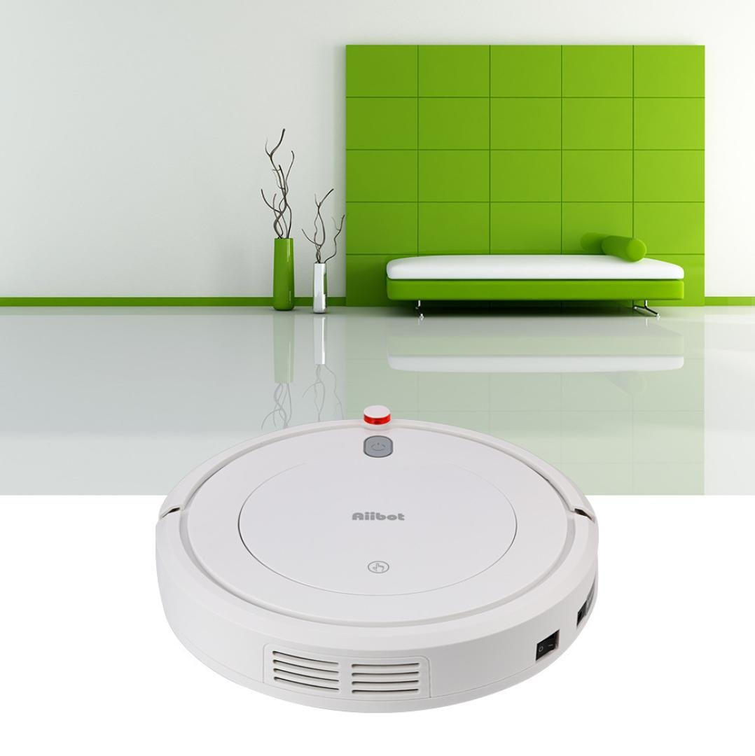 Robotic Vacuum Cleaner,High Suction Rechargeable Smart Robot Vacuum Floor Cleaner Sweeping Suction (White)
