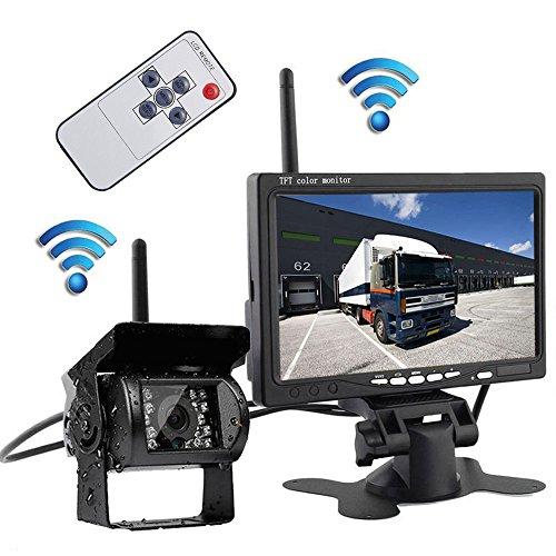 Wireless Rv Backup Camera 7 TFT LCD Monitor +Reverse Camera Kit Waterproof Night Vision Parking System for RV Truck Trailer Bus Camper Motorhome