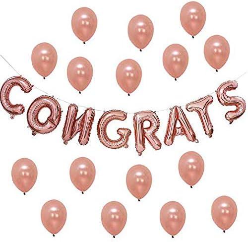 Tumao バルーンCongrats アルファベット 誕生日 パーティー 風船 17点セット パーティー 飾り付け セット 誕生日 お祝い おしゃれ アルミバルーン ピンクゴールド ハートバルーン サプライズ 装飾 安い 記念日 お祝い 飾りセット