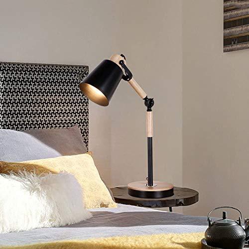 Personalidad minimalista dormitorio de la lampara de mesa lampara de noche calida moderna para decorar la oficina lampara de mesa de estudio estudiante, negro,Black