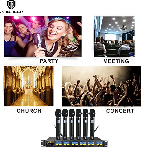 PRORECK MX66 6-Channel UHF Wireless Microphone System with 6 Hand-held Microphones Karaoke Machine for Party/Wedding/Church/Conference/Speech (New frequency) by PRORECK (Image #5)