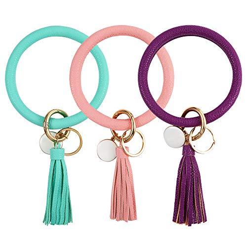 Auihiay 3 Pieces Leather O Key Chain Circle Tassel Wristlet Keychain Bracelet Keyring for Women Girls