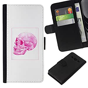All Phone Most Case / Oferta Especial Cáscara Funda de cuero Monedero Cubierta de proteccion Caso / Wallet Case for Samsung Galaxy A3 // Pink Skull