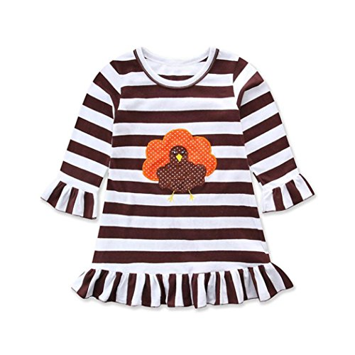 Elevin(TM)Happy Thanksgiving Toddler Baby Girl Turkey Print Dress Stripe Sundress Outfit (4T, Coffee) (Overlay Onesie Dress)