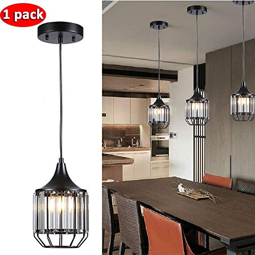 Black Pendant Light With Crystals in US - 1