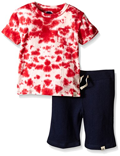 Burt's Bees Little Boys' Organic Star Tie Dye Tee and Loose Pique Short With Stripe Set, Multi, 5 Boys Tie Dye Short