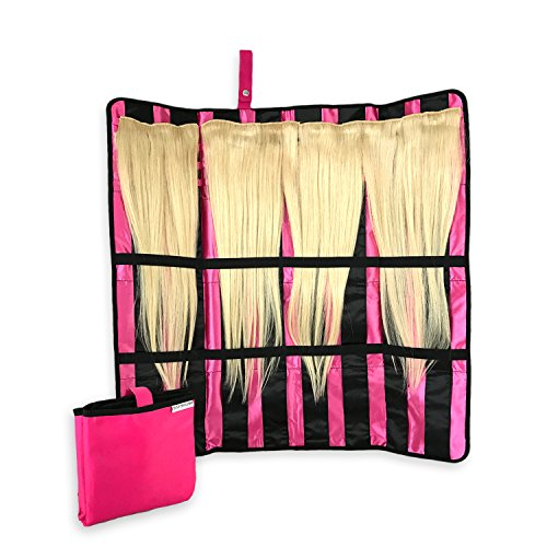 - Portable Hair Extension Holder with Flexible Hanger - the All-in-One Storage and Carrying Case for Organizing and Styling Your Clip-In, Tape-In, Human & Synthetic Hair - Great for Travel!