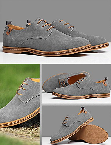 SODIAL(R) NEUF 2014 Daim Style Europeen Chaussures en Cuir Hommes oxfords Casual Gris Taille UK10 EU44