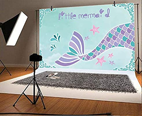 Gzhq 7x5ft Sirenetta Fotografia Sfondo Cartone Animato Bella Coda