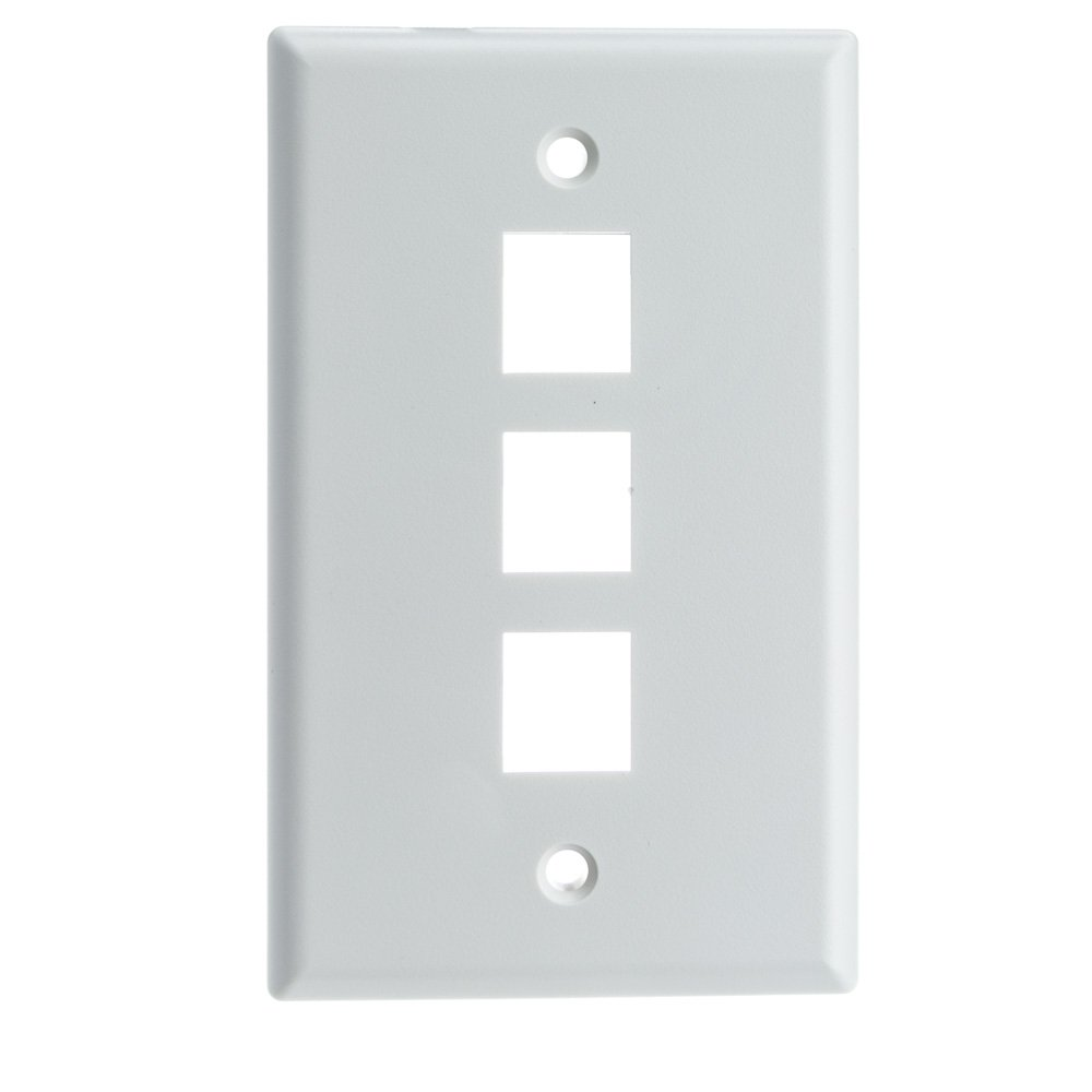 ACL Keystone 3 Port, Single Gang Wall Plate, White, 100 Pack by ACL