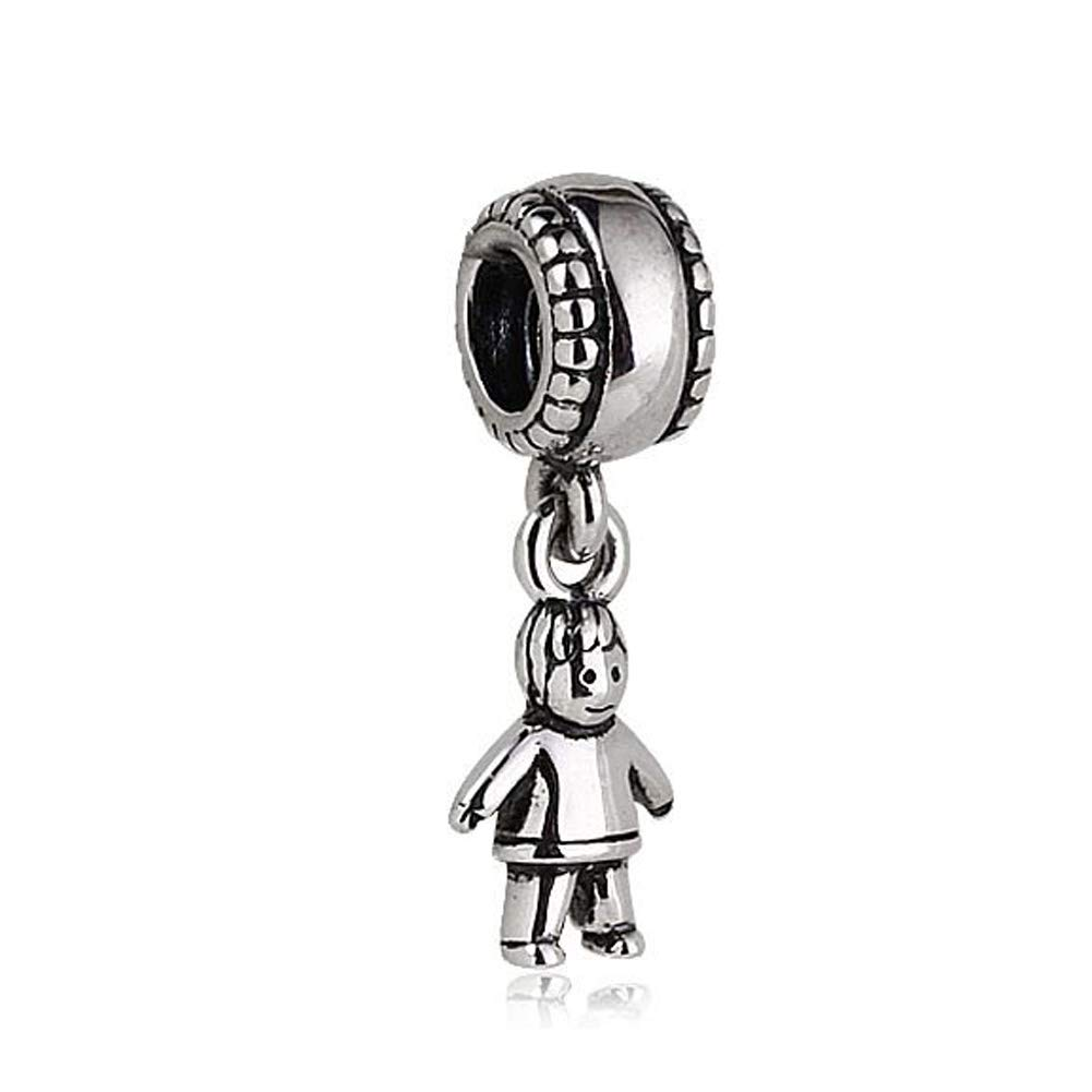 Amazon.com: Little Boy Dangle Charm plata de ley 925 Kid ...