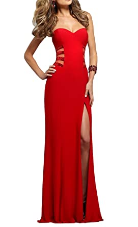 Meledy Womens Sweetheart Backless Sequins Sheath Long Red Festival Party Dress Prom Gown Slit US02
