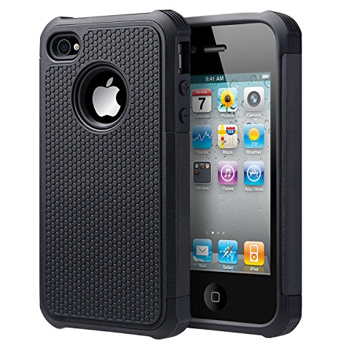 UARMOR Case for Apple iPhone 4 / iPhone 4S, Hybrid Dual Layer Protective Case with Hard Plastic and Soft Silicone Shockproof Durable Fullbody Protection Case, Black