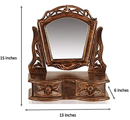 DCore Crafts Gift Item Wooden Hand Carved Mini Dressing Mirror Cabinet With 2 Drawers (13 X 6 X 15 Inches)