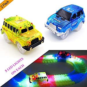 Track Cars,(2-Pack)Light Up Yellow School Bus and Blue Police Car,5 LED Lights,Compatible with Most Tracks, Perfect Gift for Boys & Girls