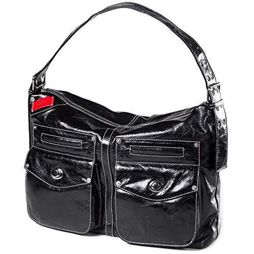 (Clava Kiki Leather Messenger Sling/Shoulder Bag in Glazed Black)