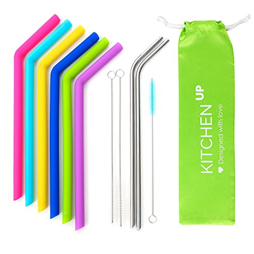 Big Silicone Straws for 30 oz Tumbler Yeti/Rtic Complete Bundle - Reusable Silicone Straws Set of 6 - Stainless Steel Straws Extra Long - Brushes and Storage Pouch Included by Kitchen Up (Image #1)