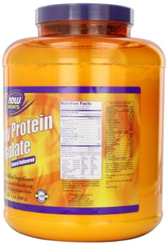 NOW Sports, Whey Protein Isolate Powder, Unflavored, 5 Pound