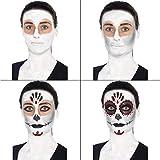 Smiffys-44226-Tag-der-Toten-Make-Up-Kit-mit-Gesichtsfarben-Gesicht-Tattoo-Gem-Aufkleber-Crayon-und-Applikatoren