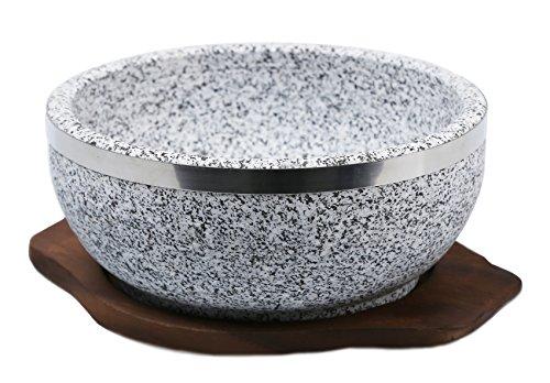 KoreArtStory Dolsot-Bibimbap Stone Bowls Set of 1 32-Oz (POT1 + Wood base 1+ Bibimbap Recipe) Cooking Korean Soup and Food