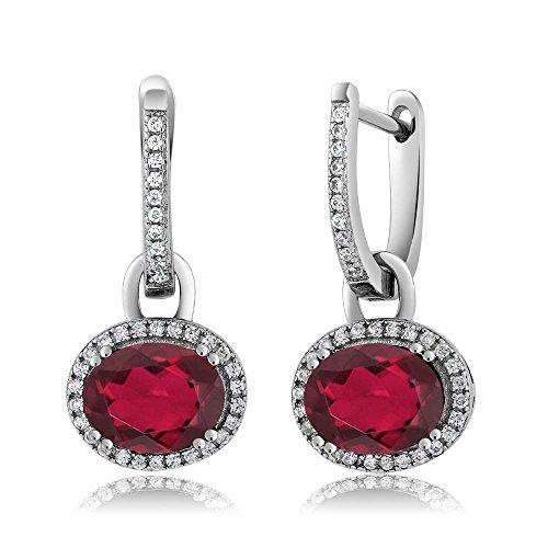 (Gem Stone King Sterling Silver Stunning Oval Gemstone Birthstone Dangling Earrings)