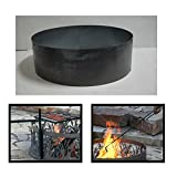 PD Metals Steel Campfire Fire Ring Solid Design - Unpainted - with Fire Poker and Cooking Grill - Extra Large 60 d x 12 h Plus Free eGuide