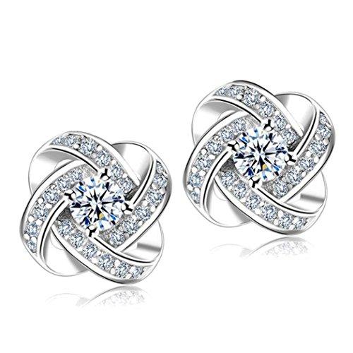 Clearance!!!Twinsmall Women Lady Elegant Diamond Ear Stud Flower Earrings Women Jewelry Earrings Stud (Sliver)