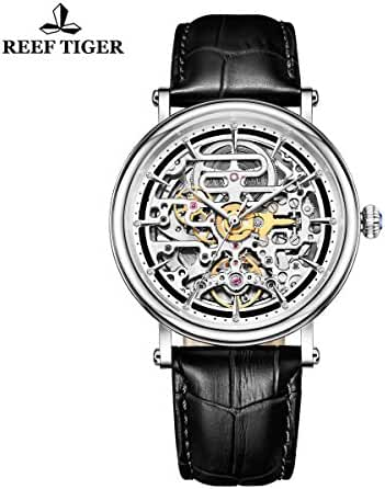 Reef Tiger Business Vintage Watches for Men Ultra thin Steel Skeleton Dial Leather Strap Watch RGA1917