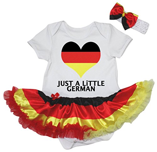 Petitebella Just A Little German White Cotton Bodysuit Red Baby Dress Nb-18m (White1, 3-6 Months) -