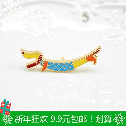 - 9.9 cartoon sausage dog drops of enamel brooch lovely Jaese cloisonne jewelry bags with pins