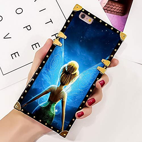 DISNEY COLLECTION Phone Case Compatible iPhone 6/6S Plus Tinkerbell Recados Luxury Elegant Square Protective Metal Decoration Corner Back Cover Case Compatible iPhone 6/6S Plus - Tinkerbell Metal