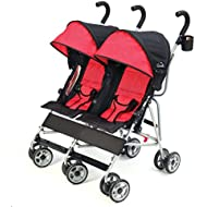 Kolcraft Cloud Lightweight Side-by-Side Double Umbrella Baby Stroller for Toddlers, Infants or Twins, 3-Point Safety System, Reclining Seats, Cool Climate Seat Backs, Large Canopy, Scarlet Red