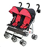 Kolcraft Cloud Side-by-Side Double Umbrella Stroller with 3-Point Safety System and Reclining Seats - Scarlet