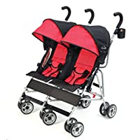 Kolcraft Cloud Side-by-Side Double Umbrella Stroller with 3-Point Safety Syst...