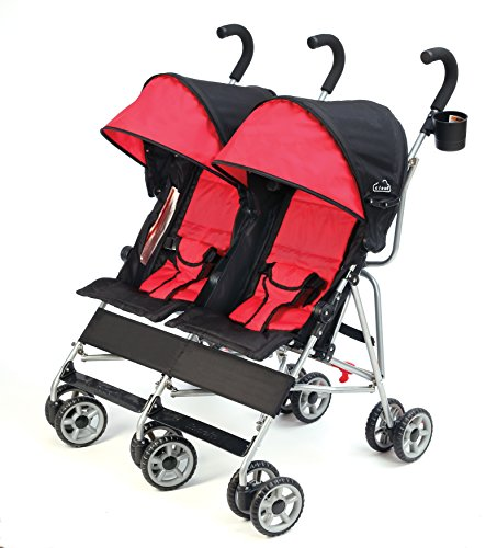 (Kolcraft Cloud Double Umbrella Stroller - Lightweight and Compact, Easy Fold, Reclining Seats with Padded 3-Point Safety Harness and Roll-Up Seat Backs, Parent Cup Holder, Expandable Canopies, Red)