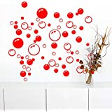 86 Bubbles Bathroom Window Wall Art Decoration DIY Sticker DIY Decals Removable Living Room Bedroom Bathroom Wall Decal Stickers-Red