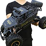RC Car 1:12 Scale Rock Crawlers Vehicle 4x4 Driving Car 4Ch 2.4G On/Off -Road / Rock Climbing Car Brushless Electric 12 KM/H Flashlight / Waterproof / Shockproof Suprise Gift (Black)