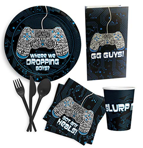 Video Game Party Supplies - Serves 24 - Great for Gamers and Birthday Themed Party. Includes Plates, Knives, Spoons, Forks, Cups, Napkins,Gift Bags. Birthday Decorations. Video Game Inspired!