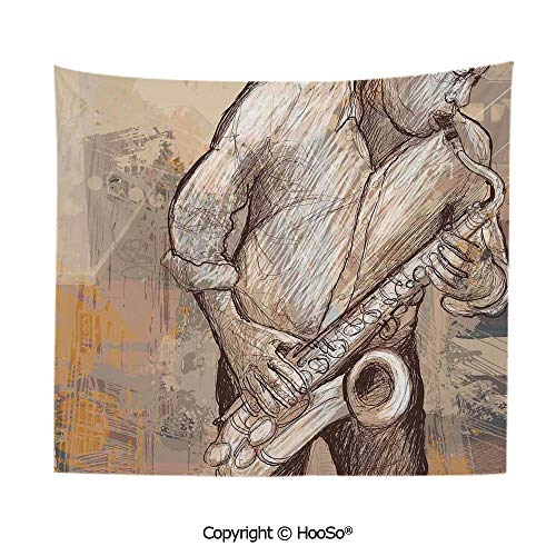 Durable Washable and Reusable tapestry wall hanging carpet 59x79in,Jazz Musician Playing the Saxophone Solo in the Street on Grunge Background Art Print,Brown Ecru Comfy and No Strange Odor home deco