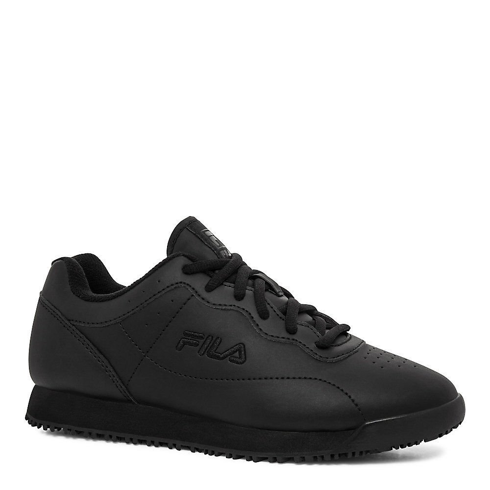 Fila Women's Memory Viable Slip Resistant Sneakers Leather B01N0XKJRP 6.5 W US|Black, Black, Black