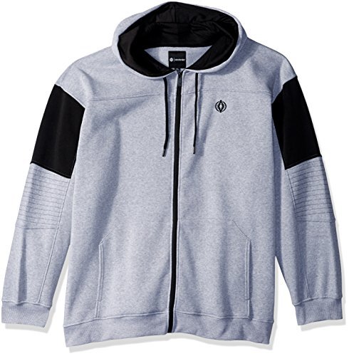Akademiks Men's Long Sleeve Zip-up Hoodie Sweatshirt, Heather Grey Sweat, 6X-Large 6x Full Zip Hooded Fleece