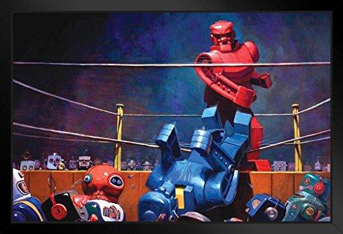 (Robots Final Blow by Eric Joyner Famous TV Show Art Print Framed Poster 14x20 inch)