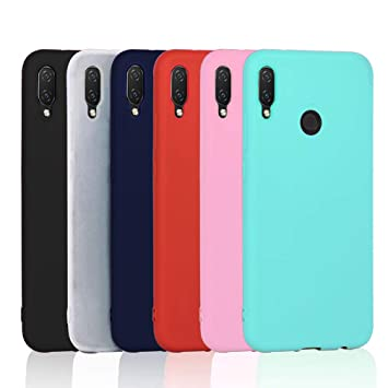 6X Funda Huawei P Smart Plus, XiaoXiMi Cárcasa Suave Silicona Funda Ultra-Delgado Anti-rasguños Anti-Choque - [ Negro + Translúcido + Azul Oscuro + ...