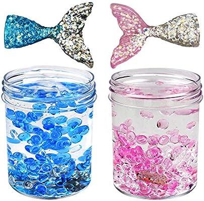 SWZY Fluffy Slime Mermaid Mud Cute Ice Crystal Slime con Cuentas de pecera y Cola de pez, 120ML * 2: Amazon.es: Juguetes y juegos
