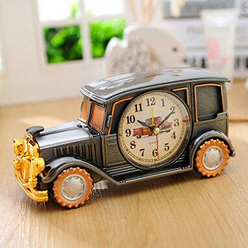 KAKA(TM) Vintage Car Bubble Car Design Digital Alarm Clock Creative Gifts for Kids Children Car Lovers - Grey x Golden