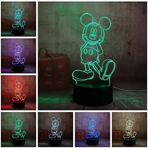 Yangll Luz De Noche 3D Dibujos Animados Lindo Mickey Mouse 3D Led ...