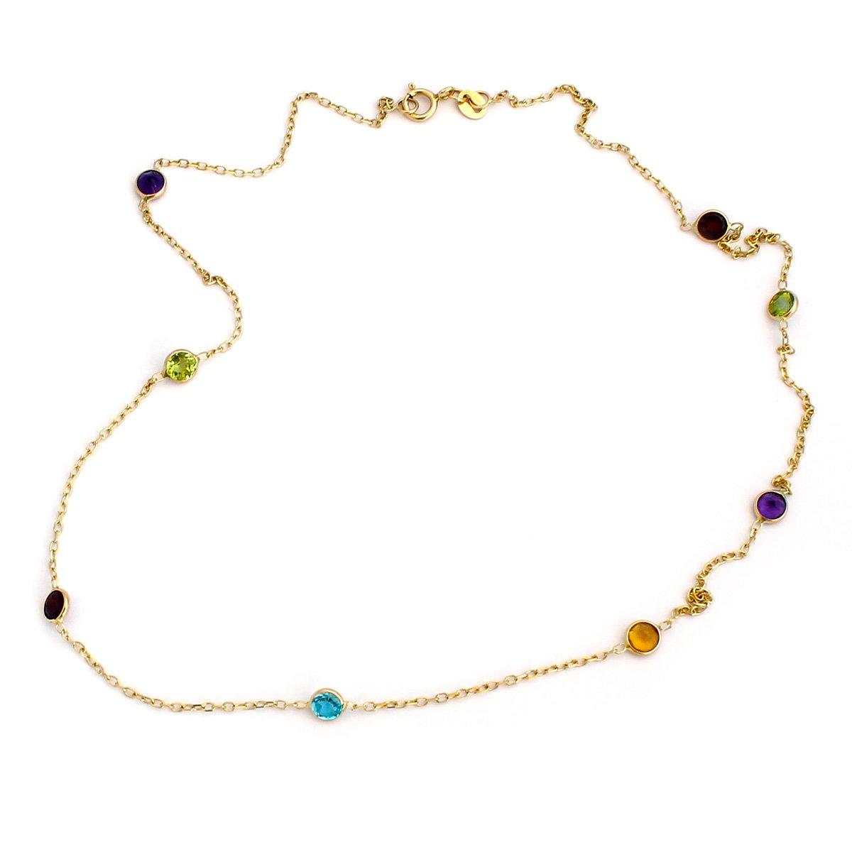 14k Yellow Gold Bezel Set Natural Gemstones Station Necklace, 18''