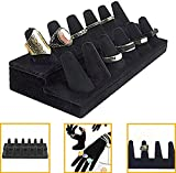 6 finger ring display - Adorox Black Velvet Finger Ring Showcase Display Jewelry Organizer Stand