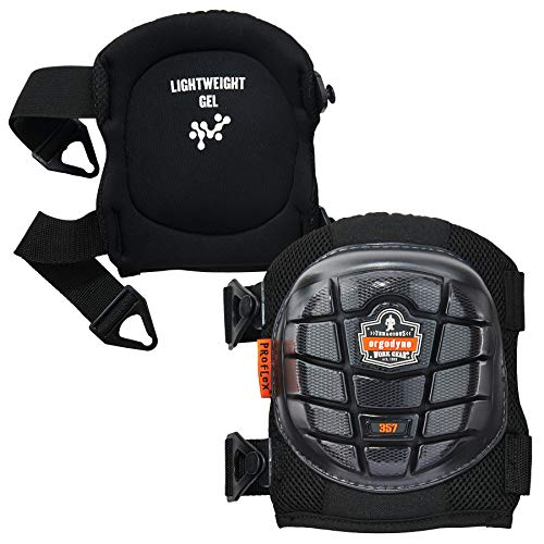 Ergodyne ProFlex 357 Professional Knee Pads, Protective Short Cap,  Lightweight Gel Padded Technology, Adjustable Straps, Black
