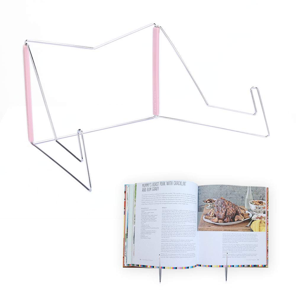 Book Holder Stand, Hands Free Book Stand for Kitchen, Adjustable Portable Metal Wire Cook Book Holder Fold for Display, Large Hardcover Medical Law Textbooks Desktop Bookrest for Study (Black)